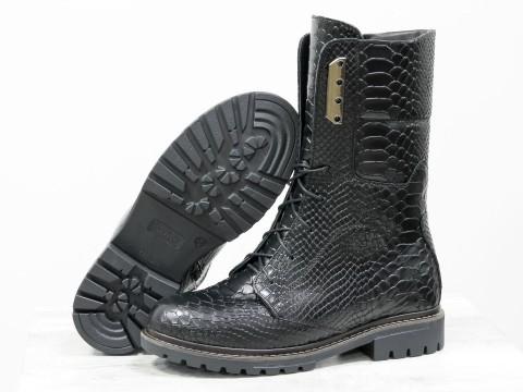 """Ботинки черного цвета с текстурой """"питон"""" со шнуровкой"""