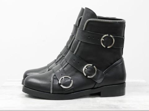 Весенние ботинки на низком ходу из натуральной кожи черного цвета