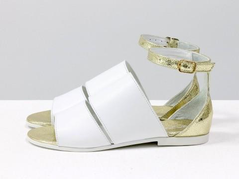 Босоножки на низком ходу белого цвета с золотым из натуральной кожи, С-605-06