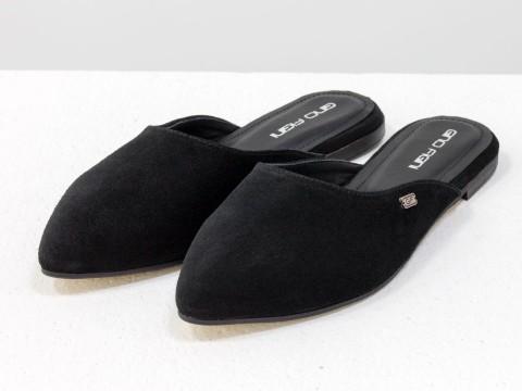 Черные мюли из натуральной замши с острым носочком