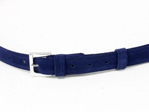 Женский ремень из натуральной замши синего цвета, Р-01-04