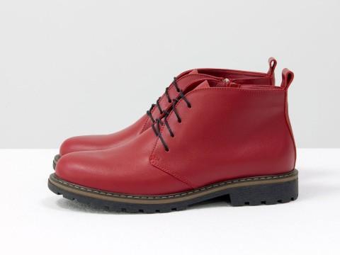 Женские ботинки на шнуровке из кожи красного цвета, Б-152-19