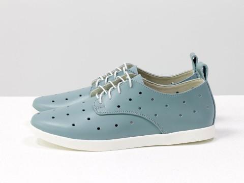 Женские туфли с перфорацией из серо-голубой кожи на шнуровке, Д-16-07