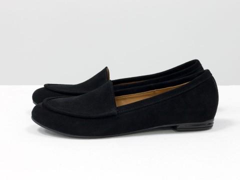 Черные туфли на низком ходу из замши, Т-17060/1-03