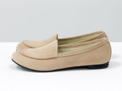 Замшевые туфли на низком ходу персикового цвета , Т-17060/1-06