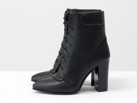 Женские весенние ботинки из черной кожи со шнуровкой, Б-1725-05