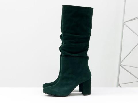 Сапоги гармошка из зеленой замши на каблуке,  М-17400/1-03