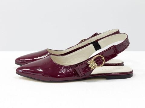 Лакированные туфли на низком ходу бордовые, Т-17426-08