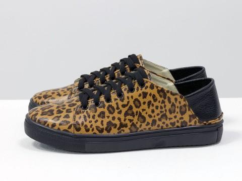 Женские леопардовые кеды из кожи с мягкой пяткой, Т-1764-07