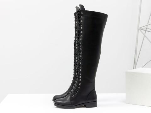 Женские высокие ботфорты из черной кожи на модной подошве и шнуровке, М-19123-01