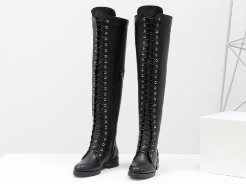 Женские высокие сапоги из натуральной черной кожи на шнуровке по всей длине, М-19123-01