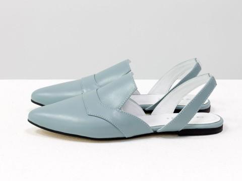 Женские туфли с открытой пяткой серо-голубого цвета на низком ходу , Т-1923-07