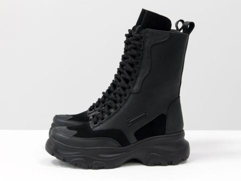 Женские спортивные ботинки из черной матовой кожи и замши на шнуровке, Б-1985-01