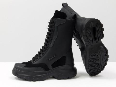 Женские спортивные ботинки из натуральной черной матовой кожи и замши на шнуровке