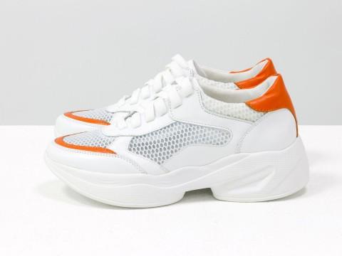 Женские летние кроссовки из натуральной белой кожи с оранжевыми вставками