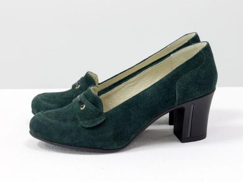 Замшевые туфли зеленого цвета на каблуке, Т-201-05