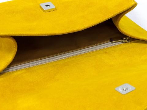 Женский замшевый клатч  цвета мимоза с двумя ручками