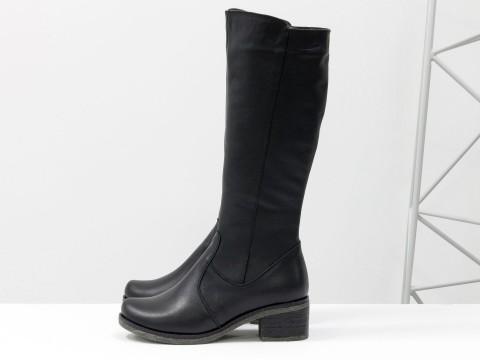 Черные женские сапоги из натуральной кожи на каблуке, М-103-06