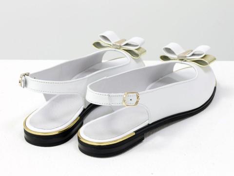 Босоножки с открытым носком из натуральной кожи белого цвета