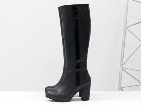 Черные сапоги на каблуке из кожи, М-120-05