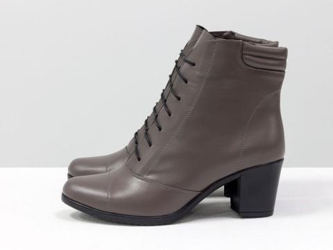 Зимние женские ботинкина среднем каблуке из натуральной кожи, сезон осень-зима