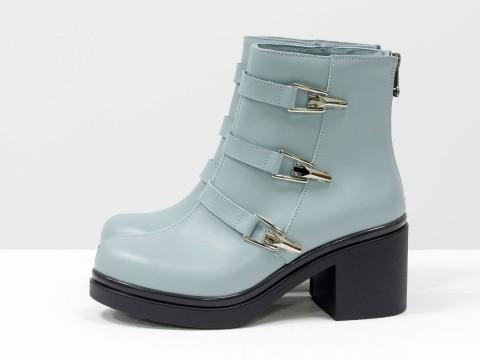 Женские весенние ботинки из кожи серо-голубого цвета, Б-1668-11