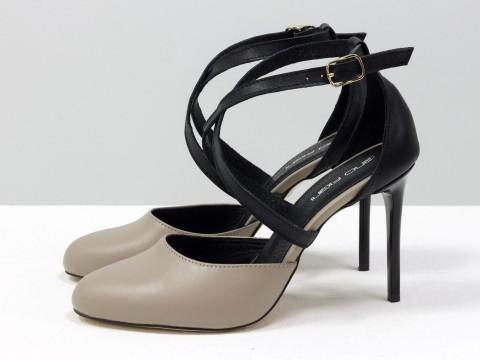 Туфли с ремешками крест на крест из натуральной кожи на шпильке, С-17043/2-03
