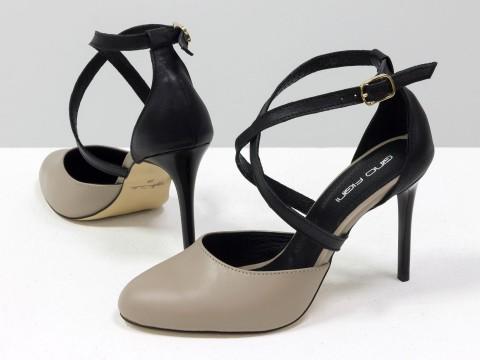 Туфли с ремешками из натуральной кожи черно-бежевого цвета на шпильке