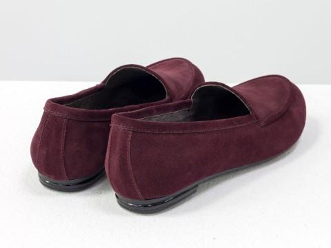 Женские бордовые туфли из натуральной замши на низком ходу