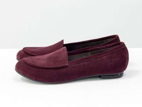Женские бордовые туфли из замши на низком ходу , Т-17060/1-07