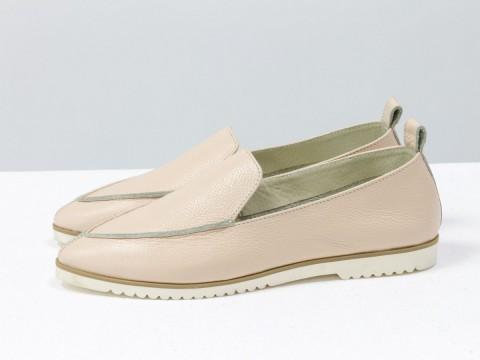 Летние туфли из бежевой кожи с перламутровым переливом, Т-1707-10