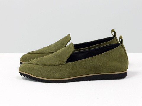 Женские замшевые туфли зеленого цвета на низком ходу, Т-1707-29