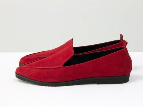 Замшевые туфли на низком ходу ярко красного цвета, Весенняя коллекция