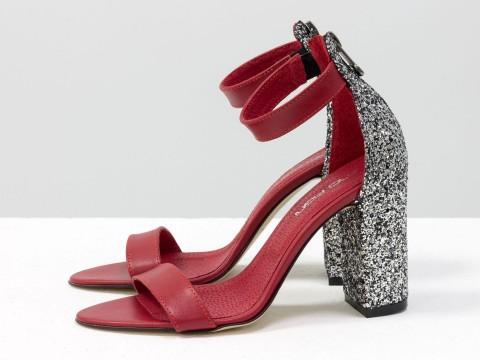 Босоножки красные из кожи на каблуке с серебряной крошкой , С-1731-04