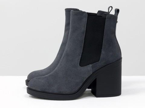 Серые ботинки из натуральной замши на каблуке , Б-17330-18