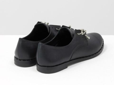 Женские туфли дерби из натуральной черной кожи