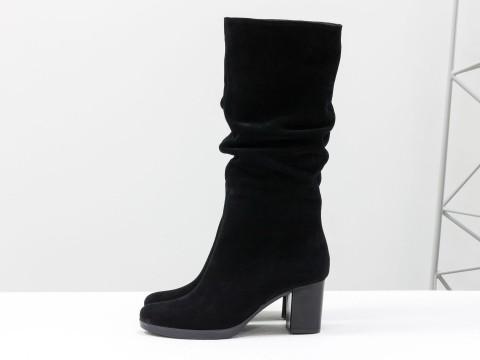 Замшевые весенние сапоги на каблуке черные, М-17400/3-08