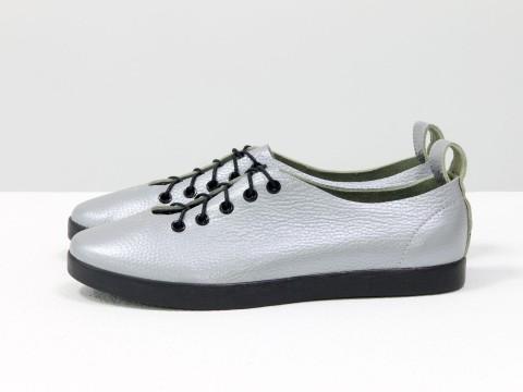 Туфли-кеды на шнуровке из натуральной кожи черного серого цвета с лазерным напылением на черной эластичной подошве , Т-17412-11