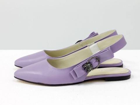 Лавандовые туфли с открытой пяткой на низком ходу, Т-17426-03