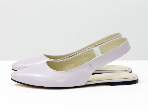 Туфли с открытой пяткой из кожи цвета лаванда, Т-17426-05
