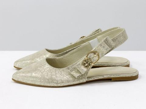Бежевые туфли лодочки с открытой пяткой на низком ходу из кожи, Т-17426-11