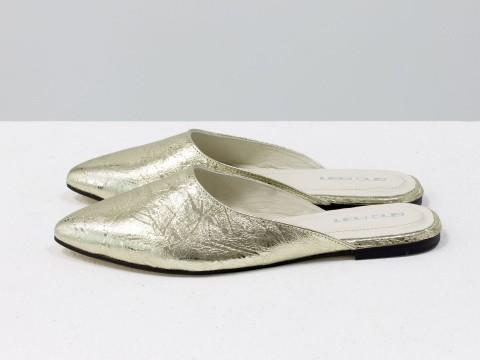 Женские кожаные бабуши золотого цвета на низком ходу, Т-17428-09