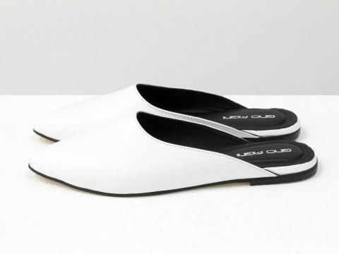Мюли белые  из натуральной кожи, Т-17428-03