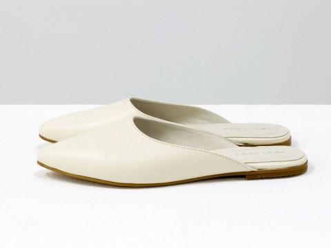 Женские бабуши из кожи флотар молочного цвета с острым носочком, Т-17428-07