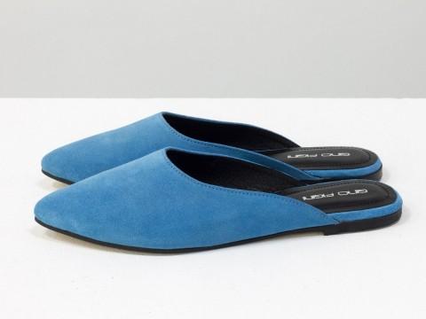 Женские мюли на низком ходу голубого цвета из замши, Т-17428-14