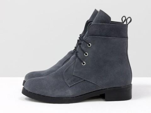 Женские зимние ботинки на шнуровке из замши серого цвета, сезон осень-зима