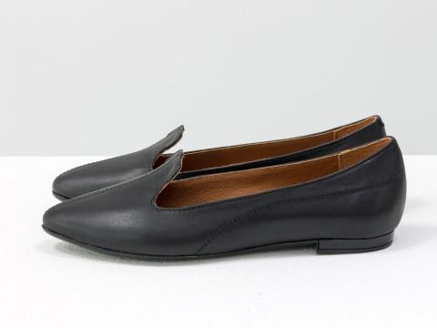 Черные туфли из натуральной кожи, Д-17-05