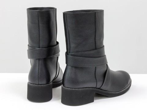 Демисезонные женские ботинки черные из натуральной кожи