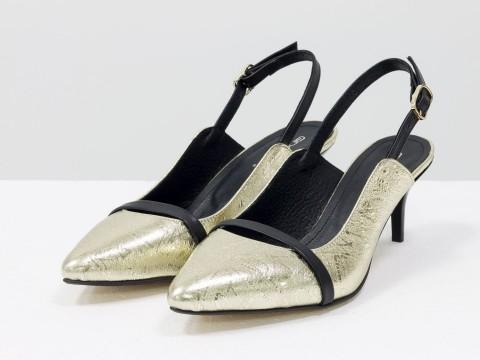 Женские туфли с открытой пяткой из натуральной кожи золотого цвета на шпильке