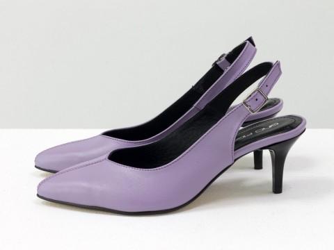 Лавандовые туфли с открытой пяткой из кожи на шпильке , С-1909-07
